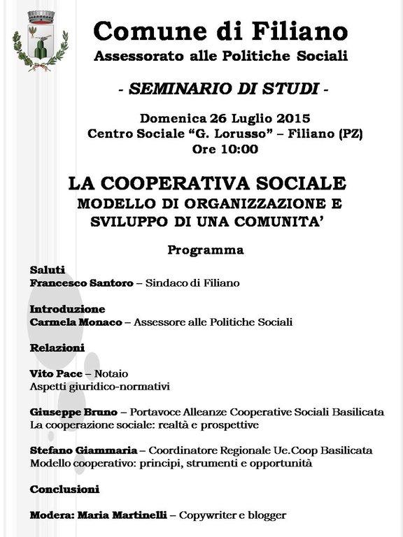 La cooperativa sociale seminario di studi agenda - La finestra cooperativa sociale ...