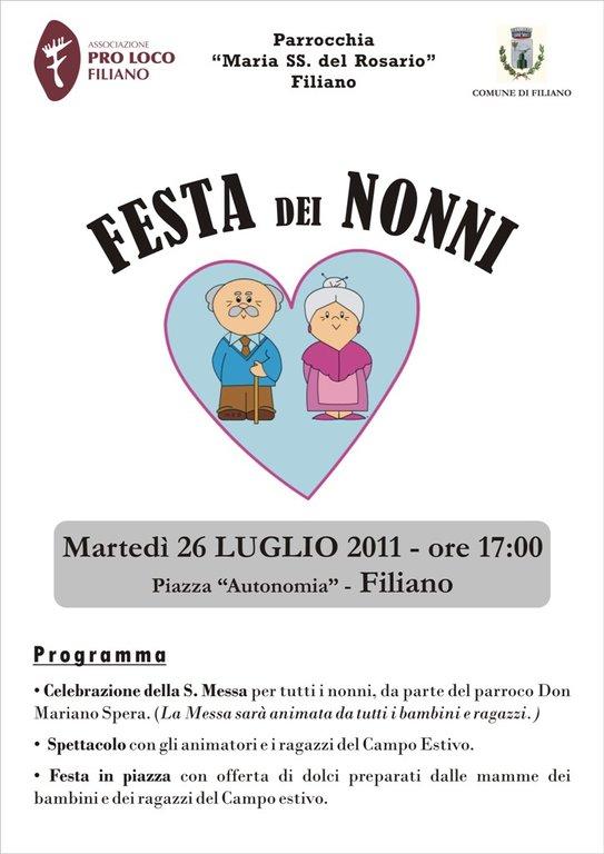 Calendario Festa Dei Nonni.Festa Dei Nonni Agenda Appuntamenti Home Pro Loco Filiano